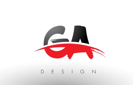 GA GA Brush Logo Design listów z czerwonymi i czarnymi kolorami i koncepcji listów szczotki.