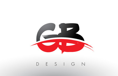 GB G B Brush Logo Letters Design with Red and Black Colors and Brush Letter Concept.