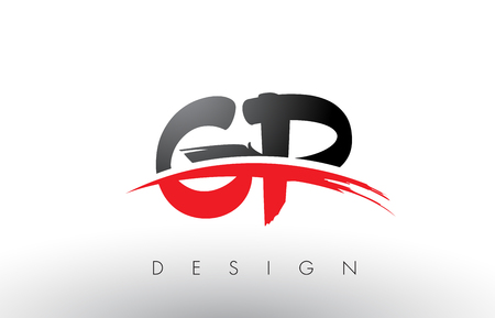 GP G P Brush Logo Letters Design with Red and Black Colors and Brush Letter Concept.