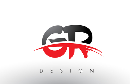 GR G R Brush Logo Letters Design with Red and Black Colors and Brush Letter Concept.