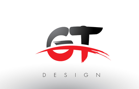 GT G T Brush Logo Letters Design with Red and Black Colors and Brush Letter Concept.