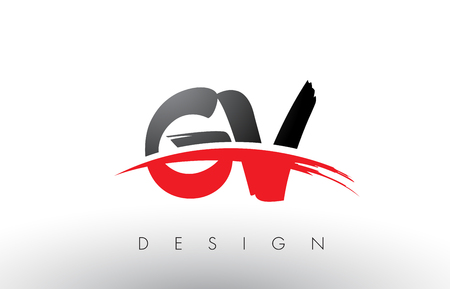 GV G V Brush Logo Letters Design with Red and Black Colors and Brush Letter Concept. Illustration