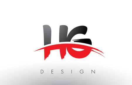 HG H G Brush Logo Letters Design with Red and Black Colors and Brush Letter Concept.