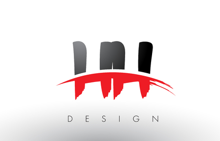 HH H H Brush Logo Letters Design with Red and Black Colors and Brush Letter Concept. Illustration