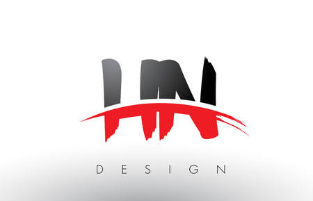 HN H N Brush Logo Letters Design with Red and Black Colors and Brush Letter Concept.