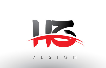 HZ H Z Brush Logo Letters Design with Red and Black Colors and Brush Letter Concept. Illusztráció