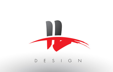 IL I L Brush Logo Letters Design with Red and Black Colors and Brush Letter Concept. Çizim
