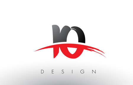 IO I O Brush Logo Letters Design with Red and Black Colors and Brush Letter Concept.