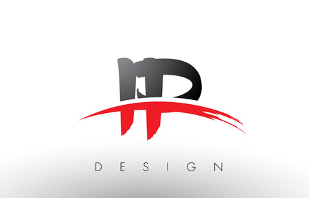 IP I P Brush Logo Letters Design with Red and Black Colors and Brush Letter Concept. Illustration