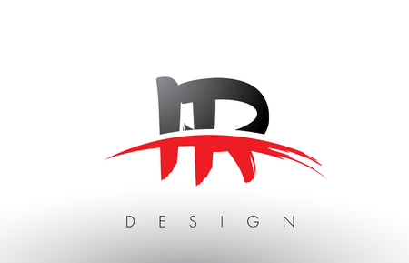 IR I R Brush Logo Letters Design with Red and Black Colors and Brush Letter Concept.