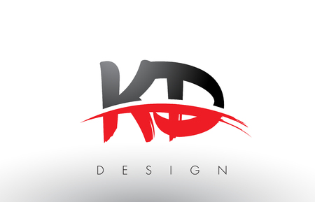 KD K D Brush Logo Letters Design with Red and Black Colors and Brush Letter Concept. Logó