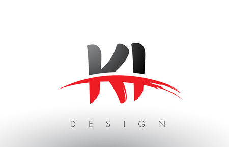KI K I Brush Logo Letters Design with Red and Black Colors and Brush Letter Concept. Illustration