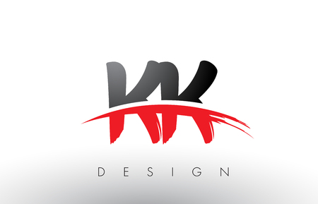 KK K K Brush Logo Letters Design with Red and Black Colors and Brush Letter Concept. Logó