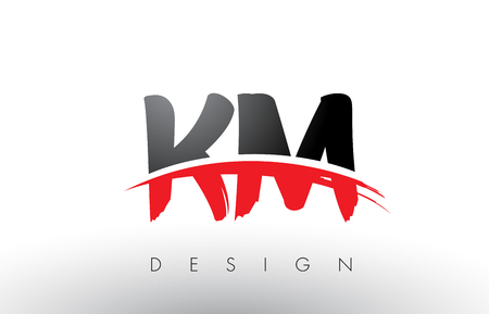 KM K M Brush Logo Letters Design with Red and Black Colors and Brush Letter Concept. Illustration