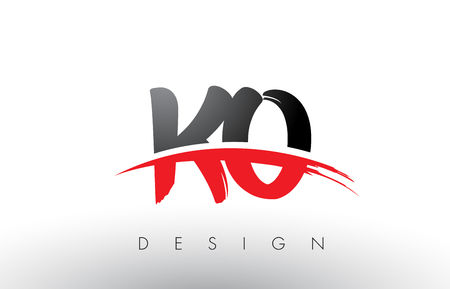 KO K O Brush Logo Letters Design with Red and Black Colors and Brush Letter Concept.