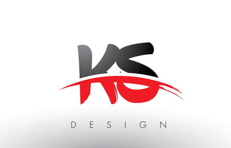 KS K S Brush Logo Letters Design with Red and Black Colors and Brush Letter Concept. Ilustrace