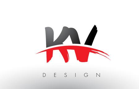 KV K V Brush Logo Letters Design with Red and Black Colors and Brush Letter Concept.