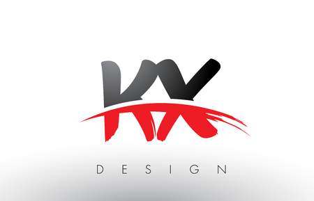 KX K X Brush Logo Letters Design with Red and Black Colors and Brush Letter Concept.