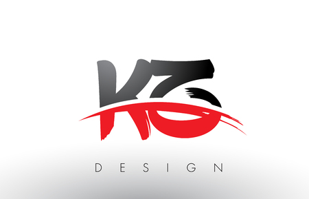 kz: KZ K Z Brush Logo Letters Design with Red and Black Colors and Brush Letter Concept.