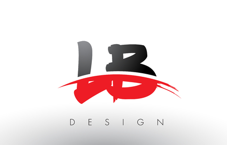 LB L B Brush Logo Letters Design with Red and Black Colors and Brush Letter Concept.