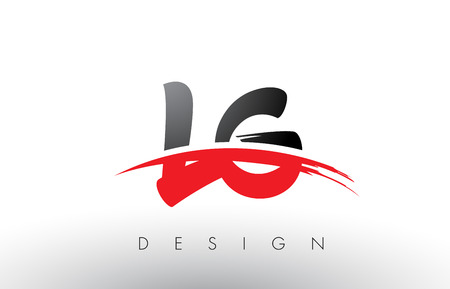 LG L G Brush Logo Letters Design with Red and Black Colors and Brush Letter Concept.
