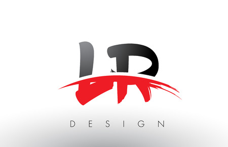 LR L R Brush Logo Letters Design with Red and Black Colors and Brush Letter Concept. Ilustracja