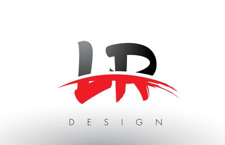 LR L R Brush Logo Letters Design with Red and Black Colors and Brush Letter Concept. Ilustração