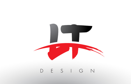 LT L T Brush Logo Letters Design with Red and Black Colors and Brush Letter Concept.