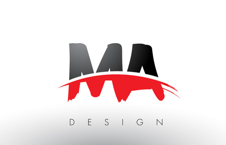 MA M A Brush Logo Letters Design with Red and Black Colors and Brush Letter Concept. Illustration