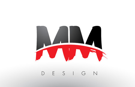 MM M M Brush Logo Letters Design with Red and Black Colors and Brush Letter Concept.