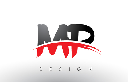 MP M P Brush Logo Letters Design with Red and Black Colors and Brush Letter Concept.