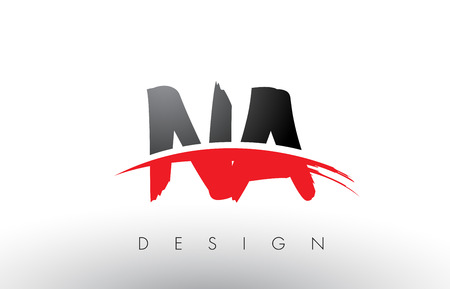 NA N A Brush Logo Letters Design with Red and Black Colors and Brush Letter Concept.
