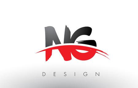 NG NG Badigeonner la conception de lettres de logo avec les couleurs rouges et noires et le concept de lettre de brosse.