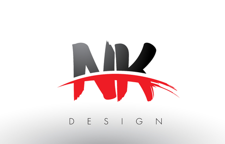 NK N K Brush Logo Letters Design with Red and Black Colors and Brush Letter Concept. Illusztráció