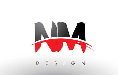NM N M Brush Logo Letters Design with Red and Black Colors and Brush Letter Concept. Illustration