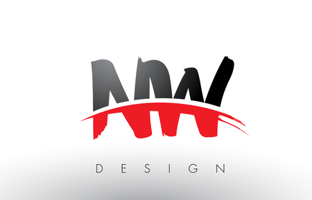 NW N W Brush Logo Letters Design with Red and Black Colors and Brush Letter Concept. Illustration