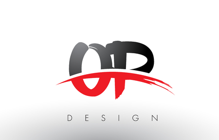 OP O P Brush Logo Letters Design with Red and Black Colors and Brush Letter Concept. Ilustração