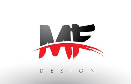 MF M F Brush Logo Letters Design with Red and Black Colors and Brush Letter Concept. Illustration