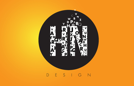 hn: HN H N Logo Design Made of Small Letters with Black Circle and Yellow Background.
