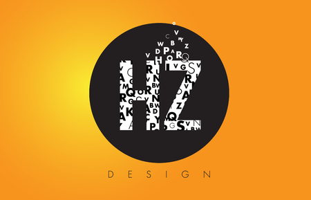 HZ H Z Logo Design Made of Small Letters with Black Circle and Yellow Background.