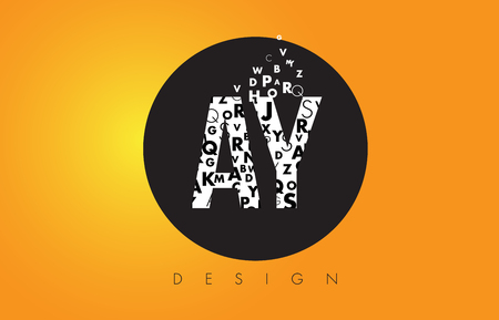 AY A Y Logo Design Made of Small Letters with Black Circle and Yellow Background.