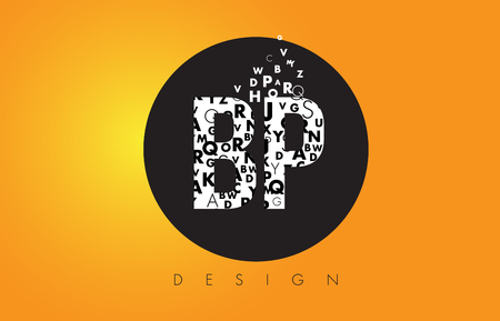 BP B P Logo Design Made of Small Letters with Black Circle and Yellow Background.