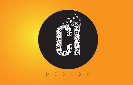 CI C I Logo Design Made of Small Letters with Black Circle and Yellow Background.