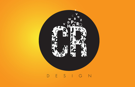 cr: CR C R Logo Design Made of Small Letters with Black Circle and Yellow Background. Illustration