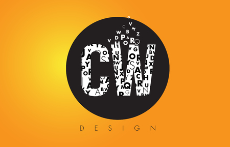 w c: CW C W Logo Design Made of Small Letters with Black Circle and Yellow Background.