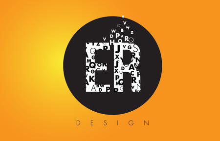 ER E R Logo Design Made of Small Letters with Black Circle and Yellow Background.