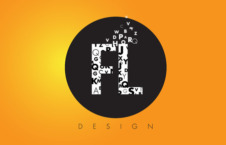 fl: FL F L Logo Design Made of Small Letters with Black Circle and Yellow Background.