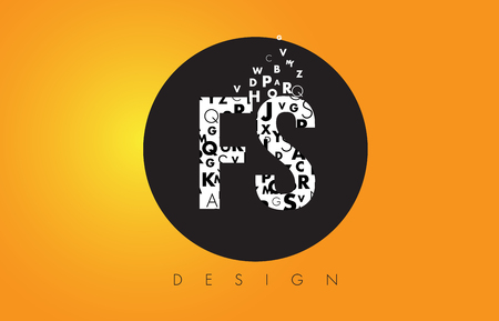 FS F S Logo Design Made of Small Letters with Black Circle and Yellow Background. Ilustração