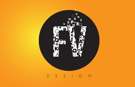 fv: FV F V Logo Design Made of Small Letters with Black Circle and Yellow Background.
