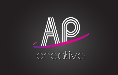 ap: AP A P Letter Logo with Lines Design And Purple Swoosh Vector Letters Illustration. Illustration